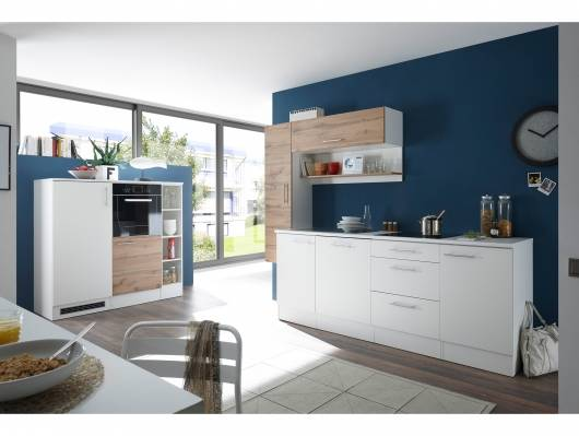 Küche mit Geräteblock Dekor Weiß/Wildeiche