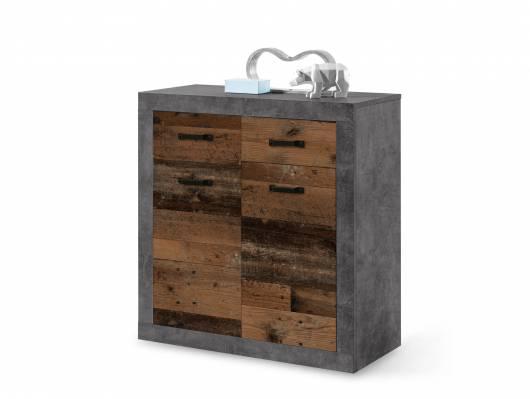 INDIO Kommode, 2 Türen+2 Schubkästen, Material Dekorspanplatte,  betonfarbig/Old Wood