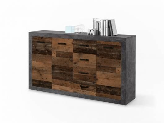 INDIO Kommode, 3 Türen+4 Schubkästen, Material Dekorspanplatte, betonfarbig/Old Wood
