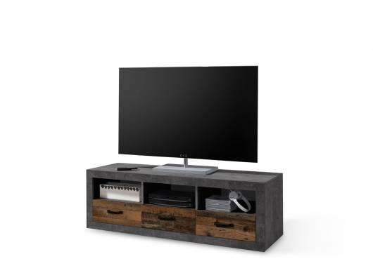 INDIO Lowboard, 3 Schubkästen+3 Fächer, Material Dekorspanplatte, betonfarbig/Old Wood