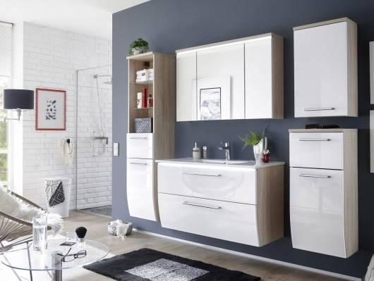 MARLENA Badezimmer Set, Material MDF, Eiche sonomafarbig/weiss Hochglanz