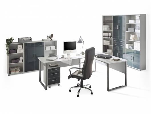 OFFICE DELUXE 8-teiliges Büroprogramm, Material Dekorspanplatte/Glas, grau/graphit