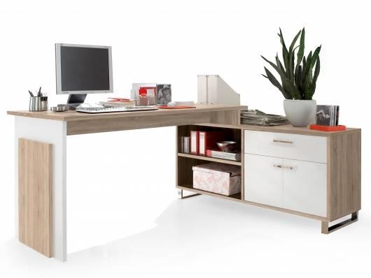 MORENA Schreibtisch, Material Dekorspanplatte,  Eiche sonomafarbig/weiss