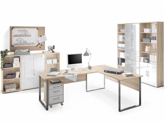 OFFICE DELUXE 8-teiliges Büroprogramm, Material Dekorspanplatte/Glas, Eiche sonomafarbig/weiss