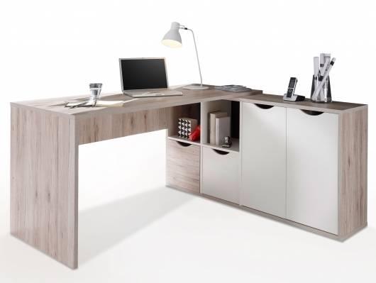 QUASTO Winkelschreibtisch, Material Dekorspanplatte, sandeichefarbig/weiss