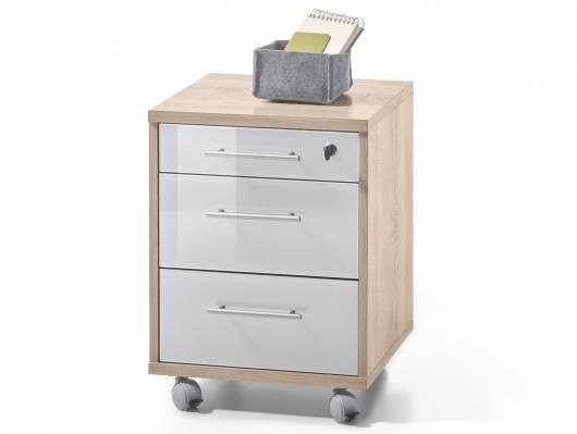 OFFICE DELUXE Rollcontainer, Material Dekorspanplatte/Glas,  Eiche sonomafarbig/weiss