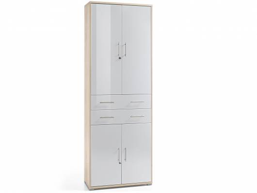 OFFIXE DELUXE Büroschrank, Material Dekorspanplatte/Glas, Eiche sonomafarbig/weiss