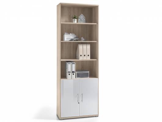 OFFICE DELUXE Büroschrank/RegaL, Material Dekorspanplatte/Glas, Eiche sonomafarbig/weiss
