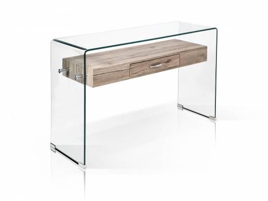LISA I Beistelltisch Konsole, Material Glas/Dekorspanplatte, eichefarbig