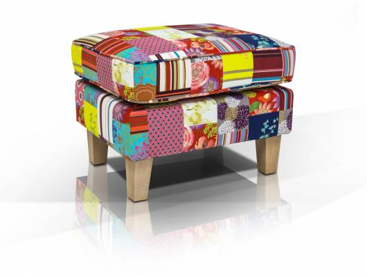 WILMA Hocker Patchwork, Material Stoff