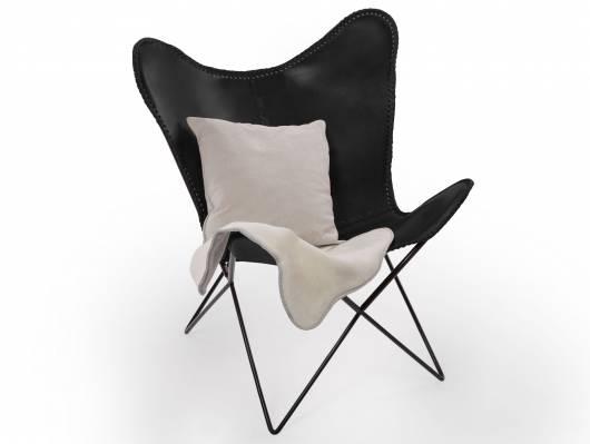 HAILEY Sessel Butterfly, Material Echtleder / Metall schwarz