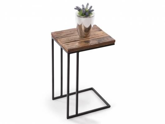 VIABELLA Beistelltisch / Laptoptisch, Material Massivholz/Metall schwarz, rustikal