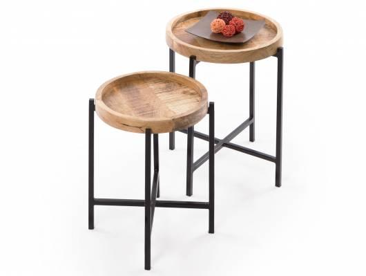 LOPAKA Beistelltische,  2er Set, Material Mango massiv/Metall schwarz