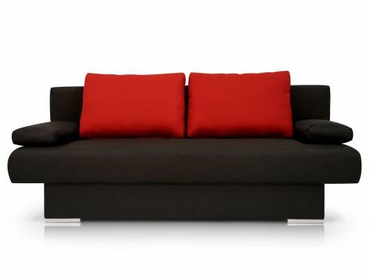 MIKE Schlafsofa / Schlafcouch schwarz/Kissen rot