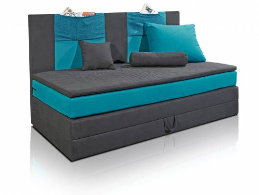 kids boxspringbett 90x200 cm schwarz petrol. Black Bedroom Furniture Sets. Home Design Ideas