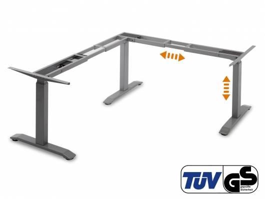 OFFICE ONE elektrisch höhenverstellbares Eck-Tischgestell mit Memory-Funktion, grau