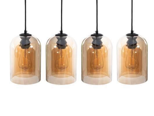 SERRY Hängelampe mit 4 Leuchten, Material Glas, braun