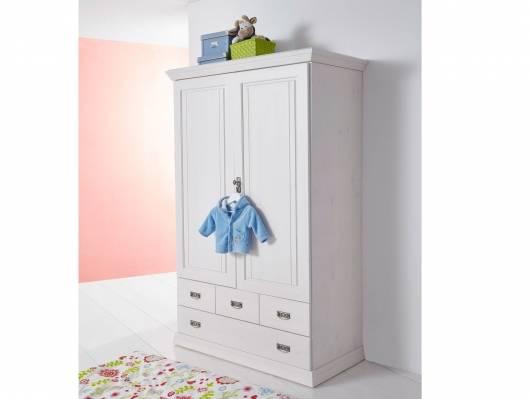 ODETTE Wäscheschrank 2trg, Material Massivholz,  Kiefer weiss gewachst