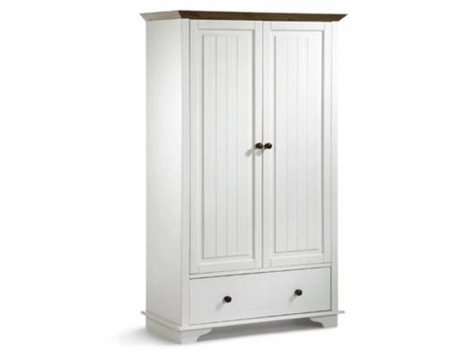 JAMIE Kleiderschrank 2trg, Material Massivholz, Kiefer weiss lackiert