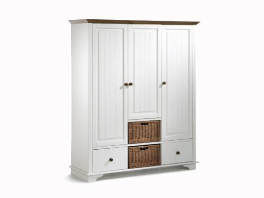 JAMIE Kleiderschrank 3trg, Material Massivholz, Kiefer weiss lackiert