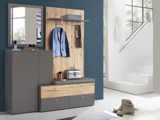 CLARA II Garderobenset, Material Dekorspanplatte, grau/plankeneichefarbig