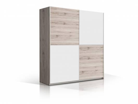 BEAT Schwebetürenschrank, Material Dekorspanplatte, sandeichefarbig/weiss