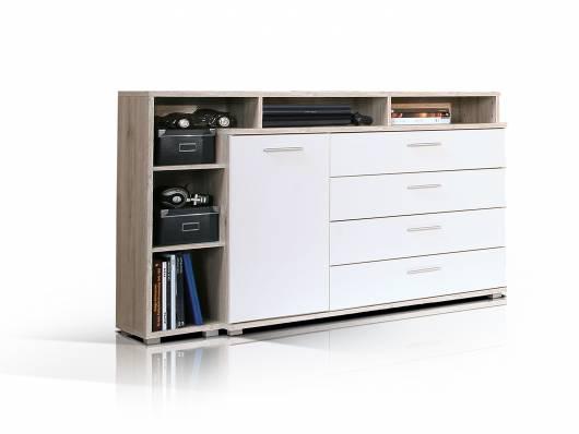 BEAT Kommode / Sideboard, Material Dekorspanplatte, sandeichefarbig/weiss