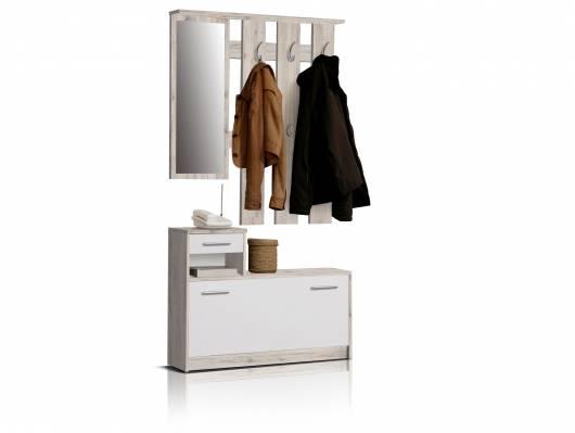 FIT Garderobe, Material Dekorspanplatte, sandeichefarbig/weiss