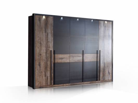 ERLIN Kleiderschrank, Material Dekorspanplatte, schlammeichefarbig