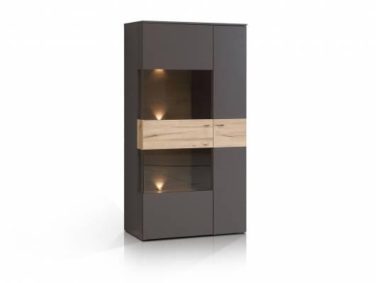 CLARA Highboard/Vitrine, Material Dekorspanplatte, grau/plankeneichefarbig