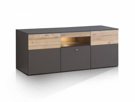 CLARA TV-Lowboard, Material Dekorspanplatte, grau/plankeneichefarbig