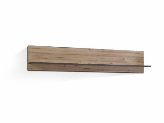 CLARA Wandregal, Material Dekorspanplatte, grau/plankeneichefarbig