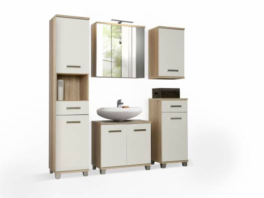 VENETA Badezimmer, Material Dekorspanplatte, eichefarbig/weiss Hochglanz