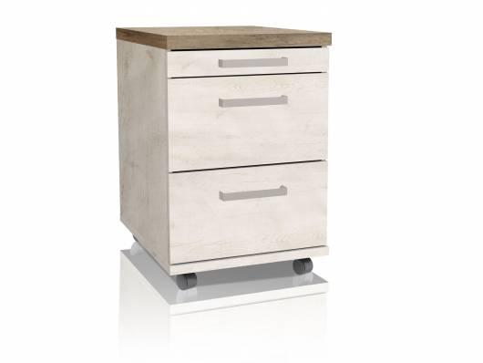 DAGUR Rollcontainer, Material Dekorspanplatte, weiss piniefarbig/eichefarbig Antik