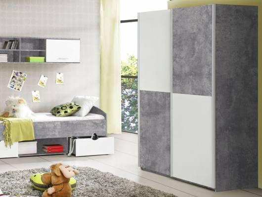 LILLY Schwebetürenschrank 120 cm, Material Dekorspanplatte, betongrau/weiss