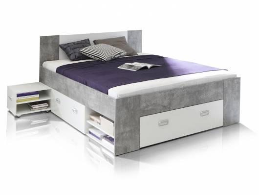 BENJAMIN Funktionsbett 140x200 cm, Material Dekorspanplatte, betongrau/weiss