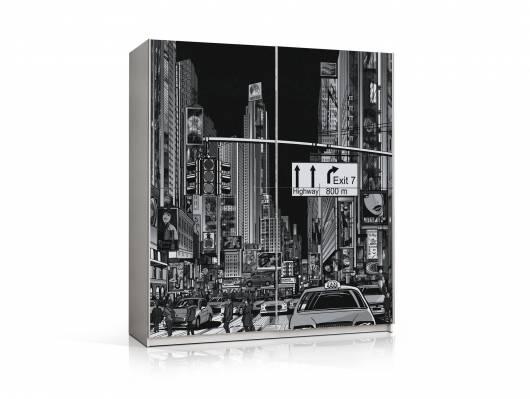 PATERO Schwebetürenschrank, Material Dekorspanplatte, Skyline