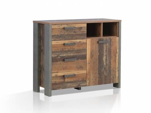 CASSIA Kommode I, Material Dekorspanplatte, Old Wood Vintage/betonfarbig
