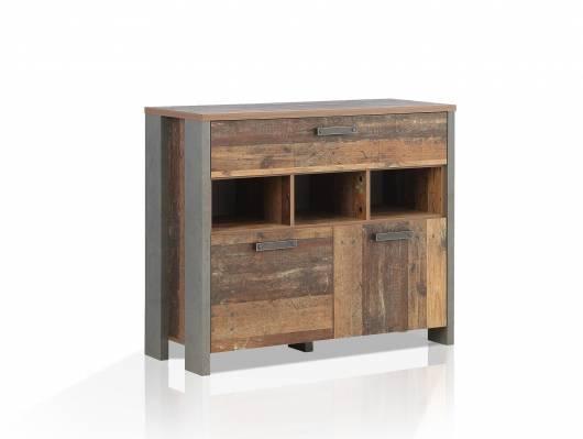 CASSIA Kommode II, Material Dekorspanplatte, Old Wood Vintage/betonfarbig