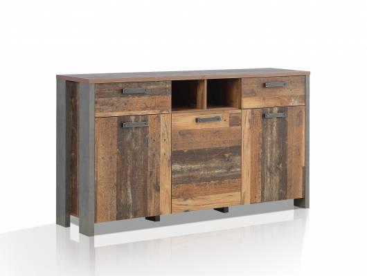 CASSIA Sideboard I, Material Dekorspanplatte, Old Wood Vintage/betonfarbig