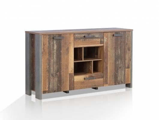 CASSIA Sideboard II, Material Dekorspanplatte, Old Wood Vintage/betonfarbig