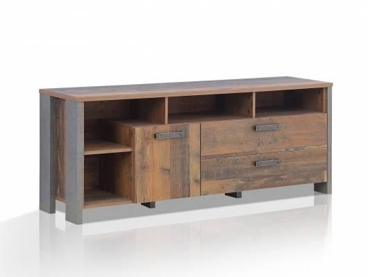 CASSIA TV-Unterteil, Material Dekorspanplatte, Old Wood Vintage/betonfarbig
