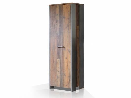 CASSIA Garderobenschrank mit 1 Tür, Material Dekorspanplatte, Old Wood Vintage/betonfarbig
