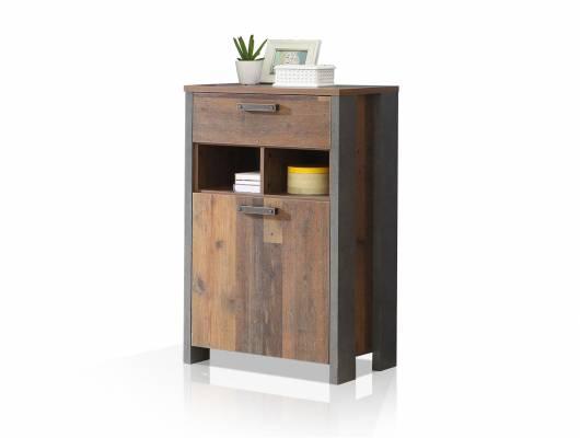 CASSIA Schuhschrank mit 1 Tür, Material Dekorspanplatte, Old Wood Vintage Nachbildung/betonfarbig