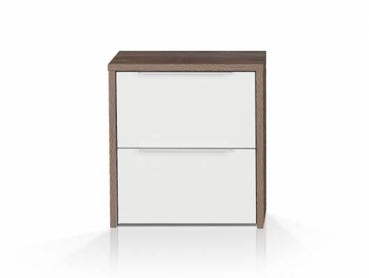 EVANDO 1 Paar Nachtkommoden, Material Dekorspanplatte, Picea kieferfarbig/weiss
