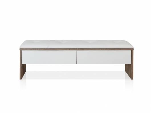 EVANDO Sitzbank mit Schubkasten, Material Dekorspanplatte, Picea kieferfarbig/weiss