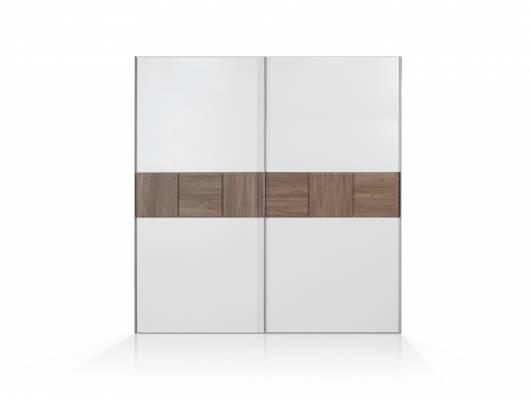 EVANDO Schwebetürenschrank, Material Dekorspanplatte, Picea kieferfarbig/weiss