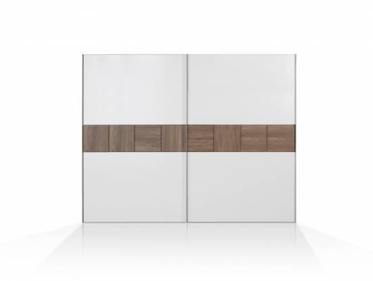 EVANDO Schiebetürenschrank, Material Dekorspanplatte, Picea kieferfarbig/weiss
