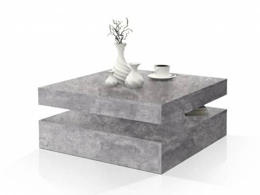 PARLA Couchtisch quadratisch mit Drehmechanismus, Material Dekorspanplatte