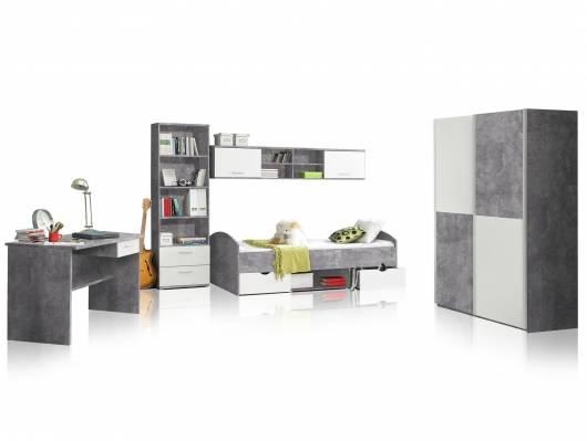 LILLY 5-teiliges Jugendzimmer, Material Dekorspanplatte, betongrau/weiss